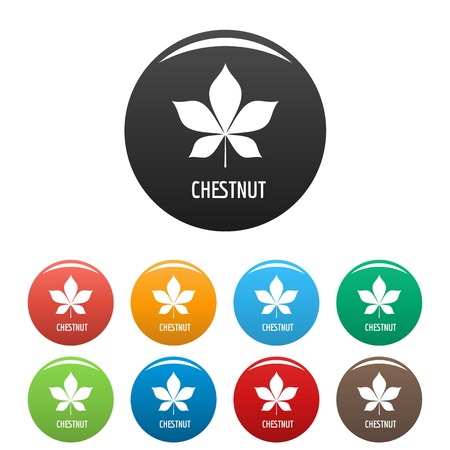 Chestnut leaf icon. Simple illustration of chestnut leaf vector icons set color isolated on white Illusztráció