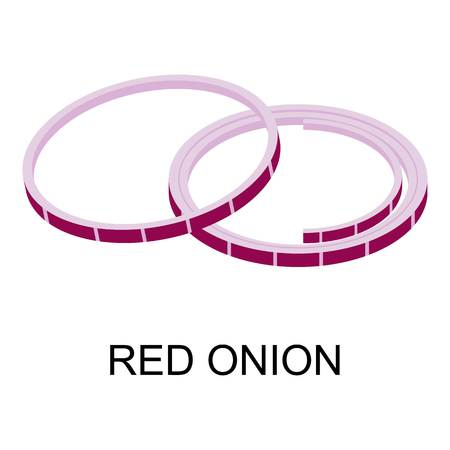 Sliced red onion icon. Isometric of sliced red onion vector icon for web design isolated on white background