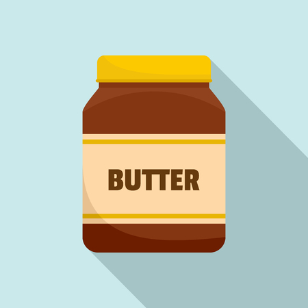 Peanut butter jar icon. Flat illustration of peanut butter jar vector icon for web design