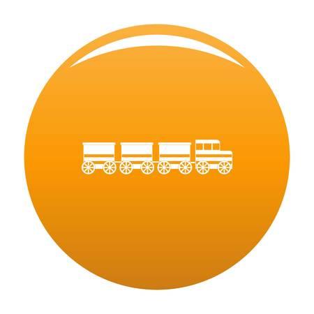 電車のアイコン。任意のデザインオレンジのための電車ベクトルアイコンの簡単なイラスト
