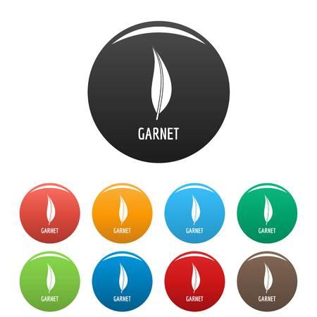 Garnet leaf icon. Simple illustration of garnet leaf vector icons set color isolated on white