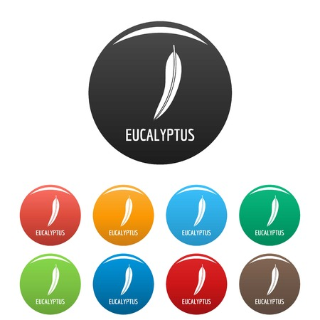 Eucalyptus leaf icon. Simple illustration of eucalyptus leaf vector icons set color isolated on white