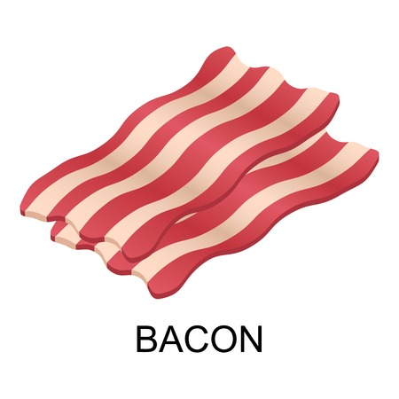 Slice of bacon icon. Isometric of slice of bacon vector icon for web design isolated on white background
