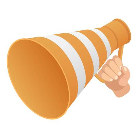 Road cone speaker icon. Isometric of road cone speaker vector icon for web design isolated on white background  イラスト・ベクター素材
