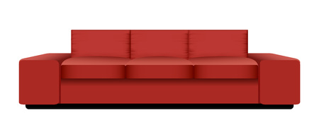 Big red sofa mockup. Realistic illustration of big red sofa vector mockup for web design isolated on white background