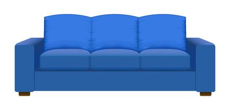 Blue vintage sofa mockup. Realistic illustration of blue vintage sofa vector mockup for web design isolated on white background