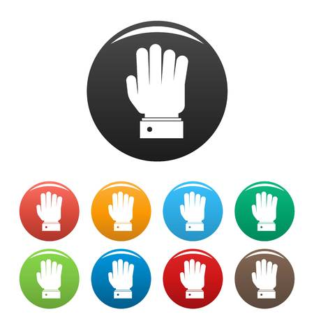 Hand stop icon. Simple illustration of hand stop vector icons set color isolated on white