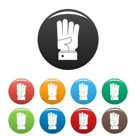 Hand four icon. Simple illustration of hand four vector icons set color isolated on white