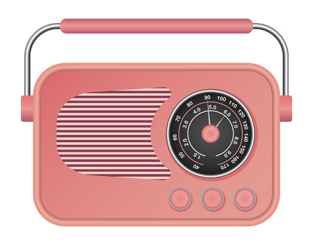 Pink retro radio mockup. Realistic illustration of pink retro radio vector mockup for web design isolated on white background Ilustração