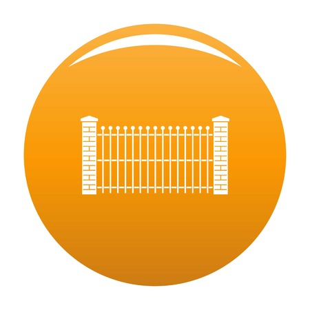 Brick and metal fence icon. Simple illustration of brick and metal fence vector icon for any design orange 向量圖像