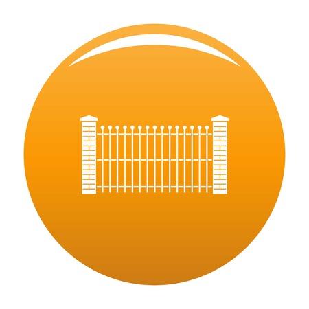 Brick and metal fence icon. Simple illustration of brick and metal fence vector icon for any design orange Illustration