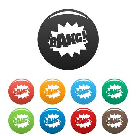 Comic boom bang icon. Simple illustration of comic boom bang vector icons set color isolated on white