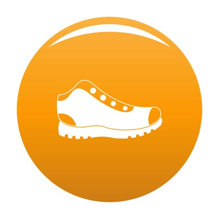 Hiking boots icon. Simple illustration of hiking boots vector icon for any any design orange