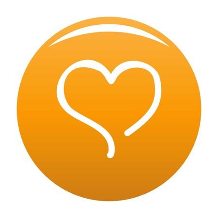 Sketch heart icon. Simple illustration of sketch heart vector icon for any design orange