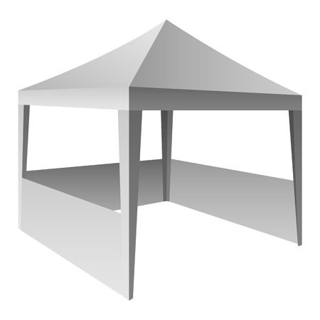 Folding tent mockup. Realistic illustration of folding tent vector mockup for web design isolated on white background