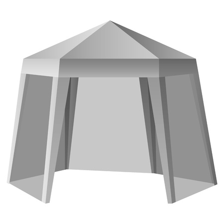 Promotional outdoor tent mockup. Realistic illustration of promotional outdoor tent vector mockup for web design isolated on white background