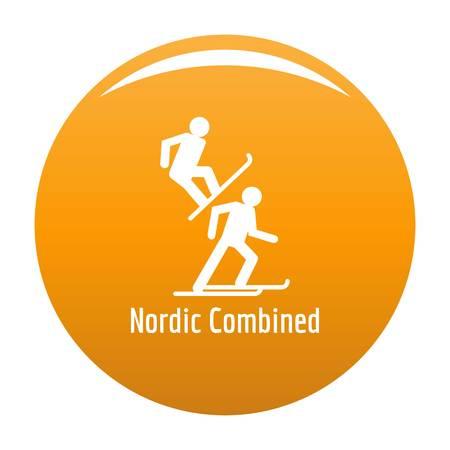 Nordic combined icon. Simple illustration ofnordic combined vector icon for any design orange