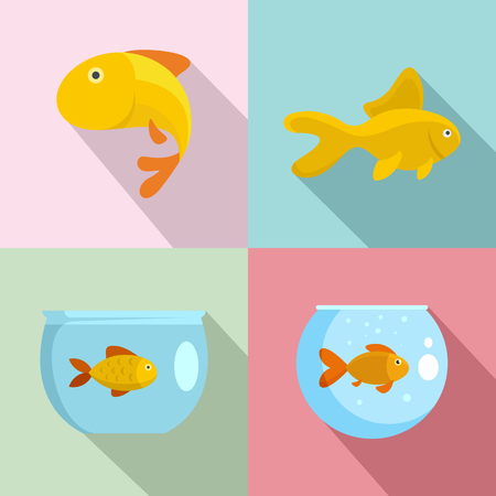 Goldfish and fishbowl icons set. Flat illustration of 4 goldfish and fishbowl vector icons for web