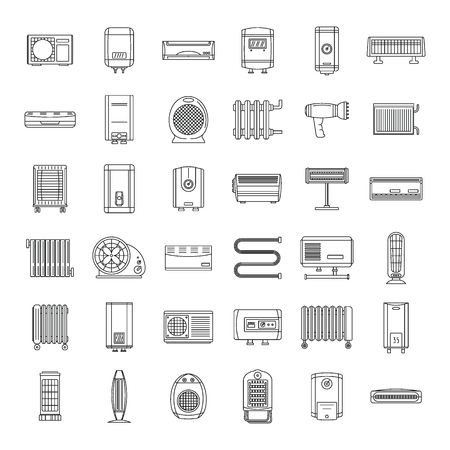 Electric heater device icons set. Outline illustration of 36 electric heater device vector icons for web