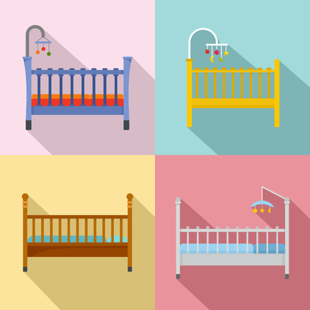 Baby crib cradle bed icons set. Flat illustration of 4 baby crib cradle bed vector icons for web Illusztráció