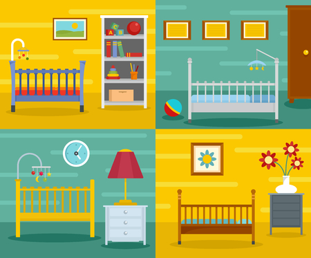 Baby crib cradle bed banner concept set. Flat illustration of 4 baby crib cradle bed vector banner horizontal concepts for web