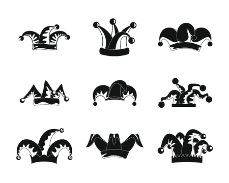 Jester fools hat icons set. Simple illustration of 9 Jester fools hat vector icons for web Vettoriali