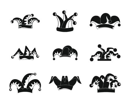 Jeu d'icônes de chapeau de fous de bouffon. Illustration simple de 9 icônes vectorielles Jester fools hat pour le web Vecteurs