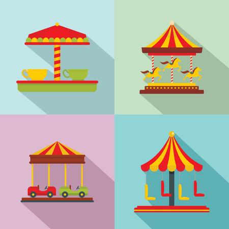 Carousel carnival horse icons set. Flat illustration of 4 carousel carnival horse vector icons for web