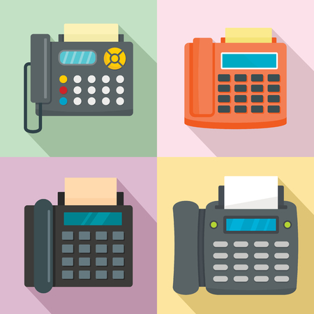 Fax machine telephone icons set. Flat illustration of 4 fax machine telephone vector icons for web