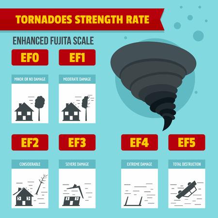 Hurricane storm tornado damage banner infographic. Flat illustration of hurricane storm tornado damage banner vector infographic for web