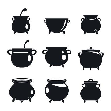 Cauldron pot kettle halloween icons set. Simple illustration of 9 cauldron pot kettle halloween vector icons for web Vettoriali