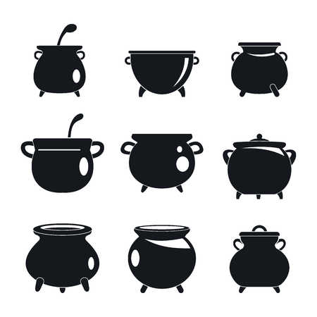 Cauldron pot kettle halloween icons set. Simple illustration of 9 cauldron pot kettle halloween vector icons for web Çizim