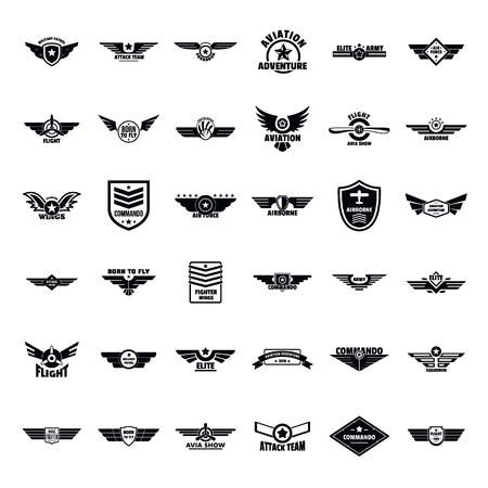 Set di icone logo distintivo dell'esercito militare dell'aeronautica militare. Semplice illustrazione di 36 aeronautica militare esercito distintivo logo icone vettoriali per il web