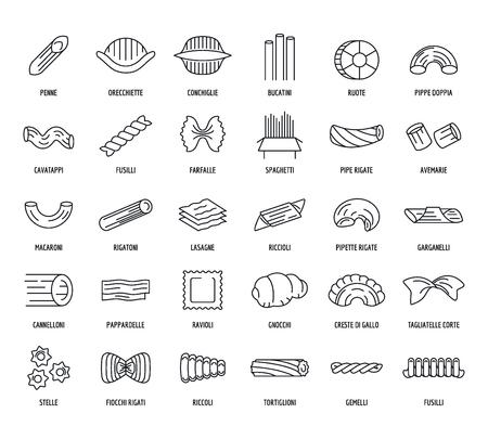 Macaroni pasta spaghetti noodles icons set. Outline illustration of 30 macaroni pasta spaghetti noodles vector icons for web Illustration