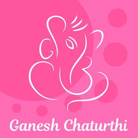 Pink Ganesh Chaturthi background. Flat illustration of pink Ganesh Chaturthi vector background for web design Illustration