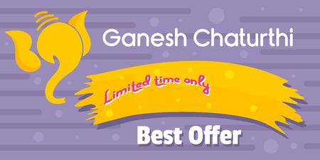 Ganesh chaturthi best offer banner horizontal. Flat illustration of vector ganesh chaturthi best offer banner horizontal for web design