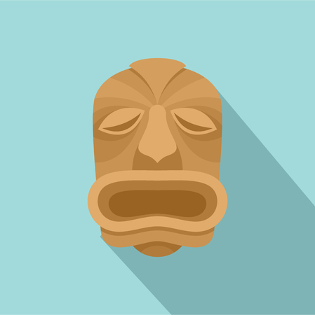 Wood made tiki icon. Flat illustration of wood made tiki vector icon for web design