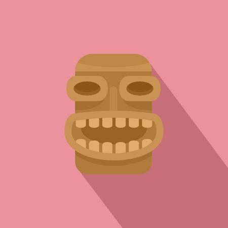 Icono de madera Tiki. Ilustración plana del icono de vector de madera tiki para diseño web