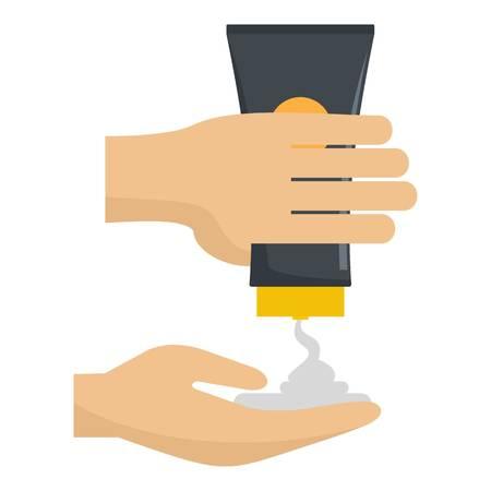 Sun cream in hand icon. Flat illustration of sun cream in hand vector icon for web design 일러스트