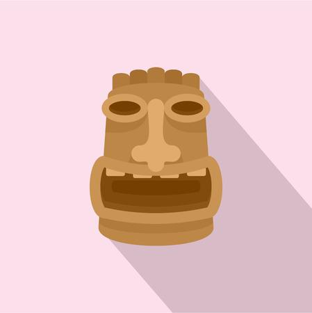 Tiki wood idol icon. Flat illustration of tiki wood idol vector icon for web design