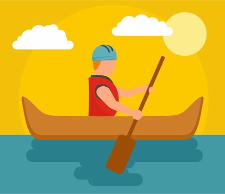 One man rafting background. Flat illustration of one man rafting vector background for web design Illustration