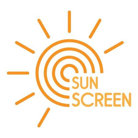 Sun uv screen logo. Flat illustration of sun uv screen vector logo for web design