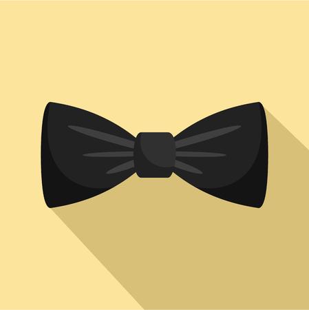 Black bow tie icon. Flat illustration of black bow tie vector icon for web design Illustration