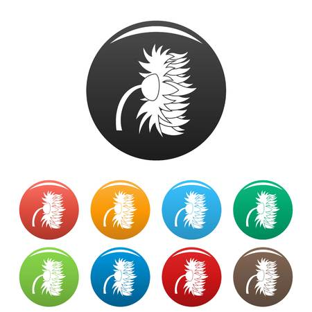 Garden sunflower icon. Simple illustration of garden sunflower vector icons set color isolated on white 일러스트