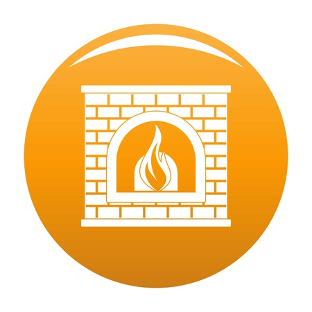 Retro fireplace icon. Simple illustration of retro fireplace vector icon for any design orange Stock Vector - 102459383