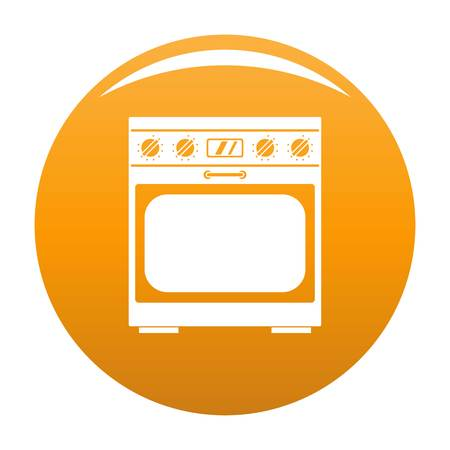 Domestic gas oven icon. Simple illustration of domestic gas oven vector icon for any design orange