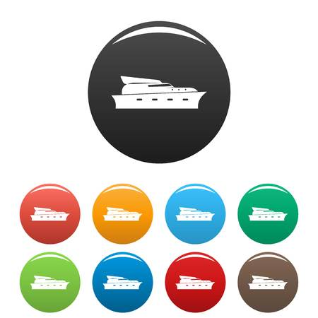 Yacht icon. Simple illustration of yacht vector icons set color isolated on white