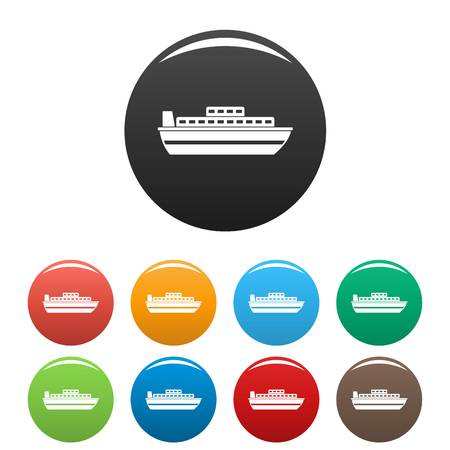Ship travel cruise icon. Simple illustration of ship travel cruise vector icons set color isolated on white Illusztráció