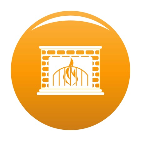 Fireplace icon. Simple illustration of fireplace vector icon for any design orange