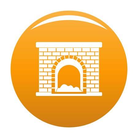 Brick fireplace icon. Simple illustration of brick fireplace vector icon for any design orange Stock Illustration - 102459483